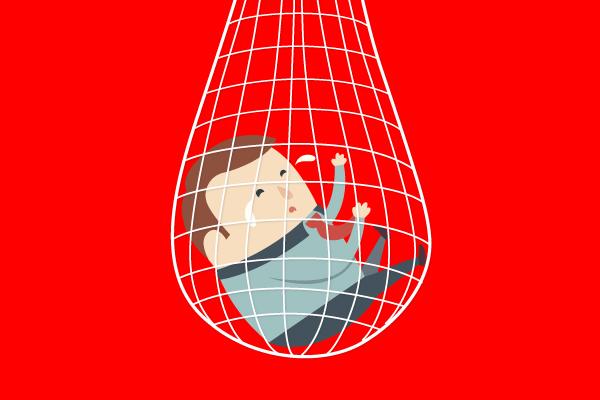 illustration d'un homme dans un filet