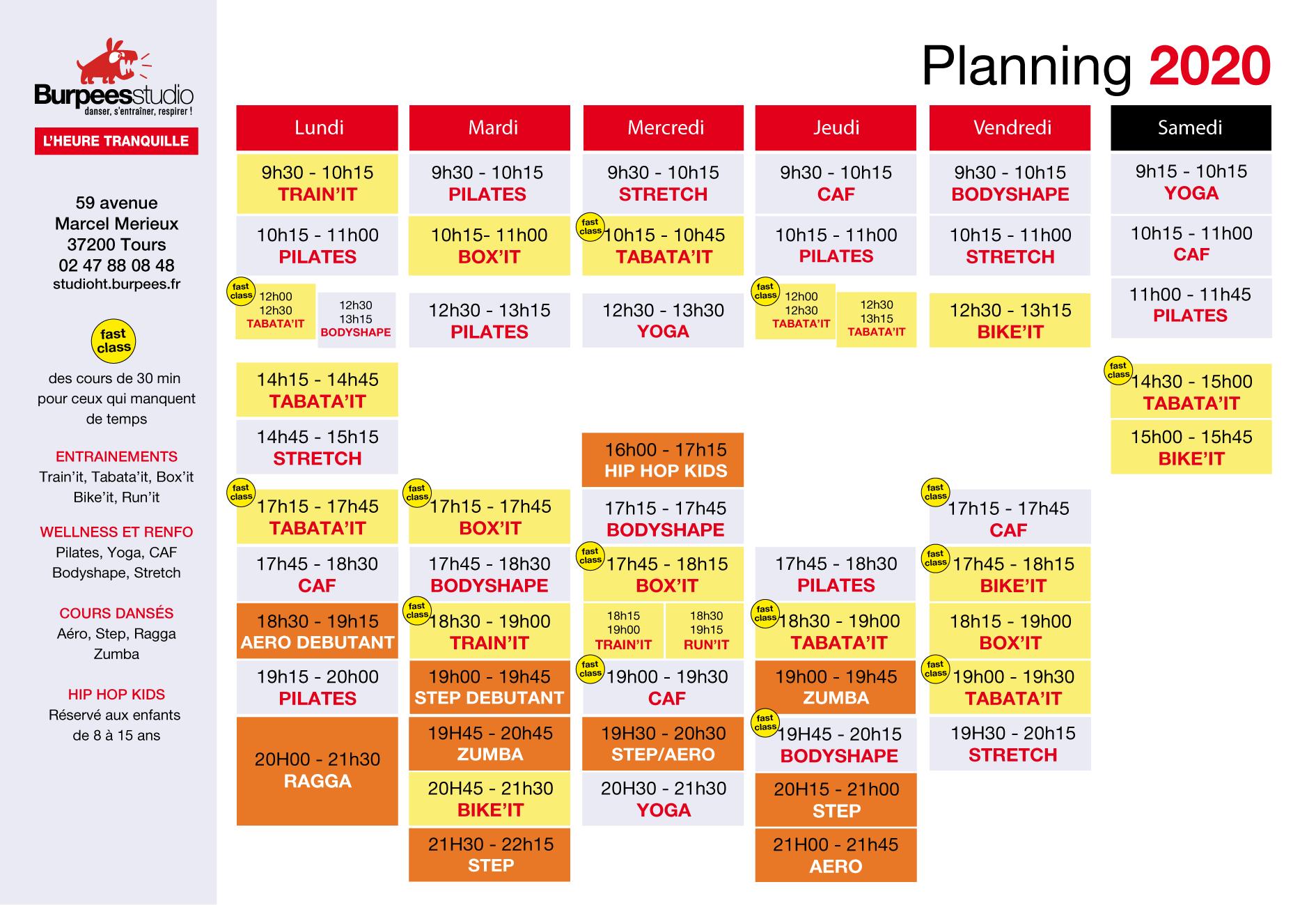 Planning cours de fitness